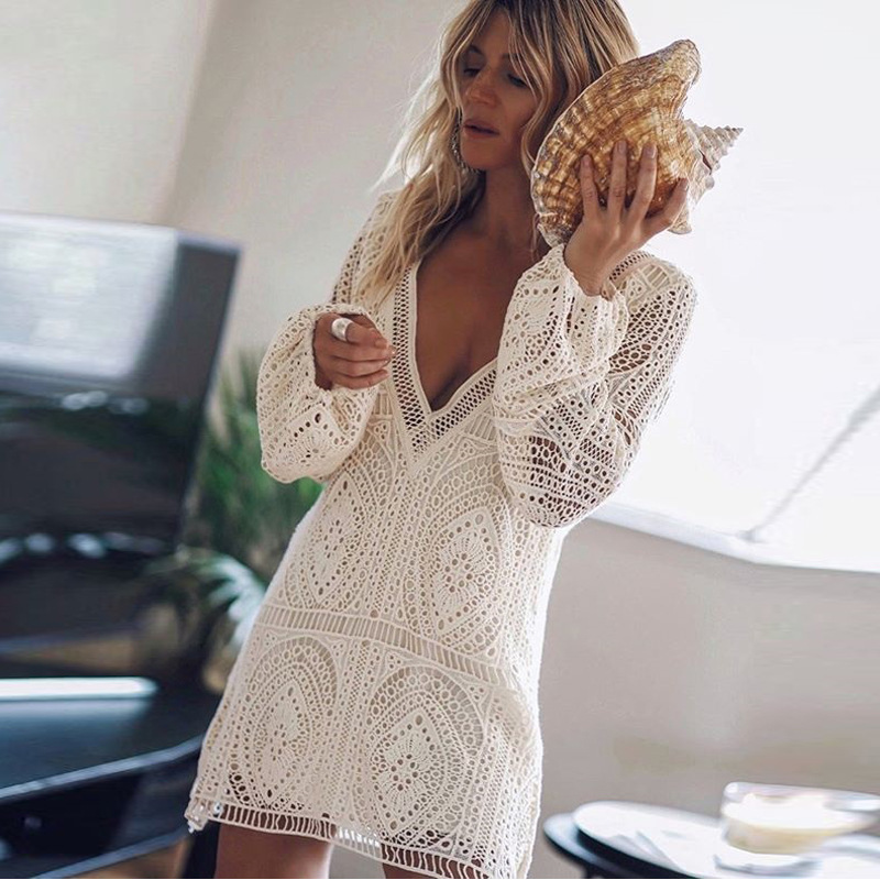 White <font><b>Lace</b></font> Beach <font><b>Dress</b></font> Women <font><b>Hollow</b></font> Out Long Sleeve <font><b>Sexy</b></font> <font><b>Dress</b></font> Deep V Neck <font><b>Backless</b></font> Boho <font><b>Dresses</b></font> Vestidos image