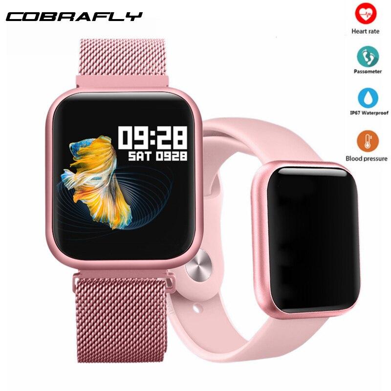 Cobrafly P80 smart watch com tela sensível ao toque Completa IP68 smartwatch para das mulheres dos homens À Prova D' Água Heart Rate Monitor para xiaomi & Maçã