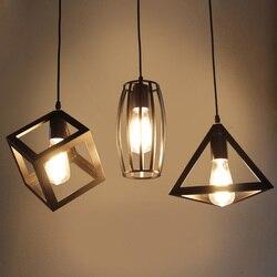 Żyrandol z kutego żelaza retro czarny lekki prosty restauracja/bar żyrandol stolik barowy lampa trzyczęściowy wiatr przemysłowy lampa
