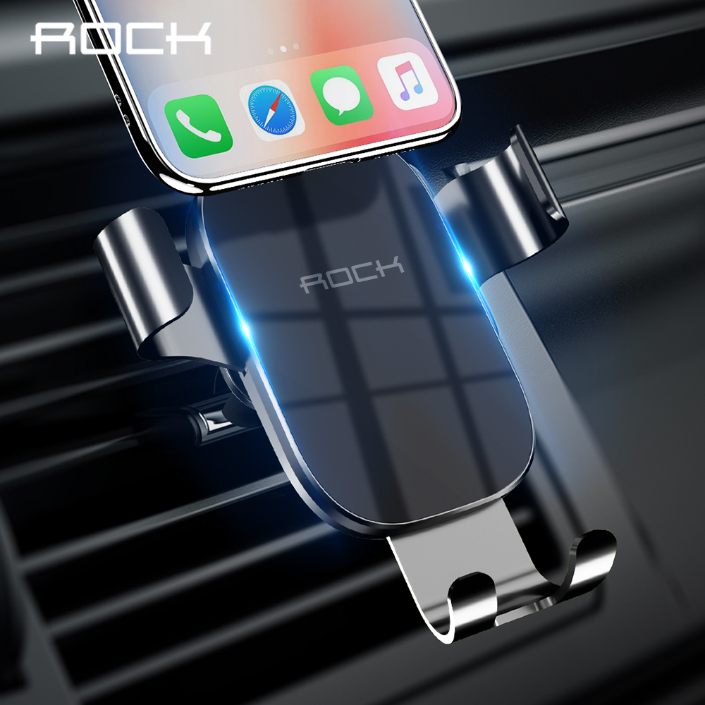 ROCK Car Phone Holder Car Air Vent Mount Holder For IPhone 11 X Max Samsung Universal Bracket Metal Gravity Mobile Phone Stand