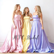 Gorgeous Pink Long Satin Formal Prom Dresses Strapless A Line Pockets Women Wedding Party Dress High Quality 2019 Robe De Soiree(China)