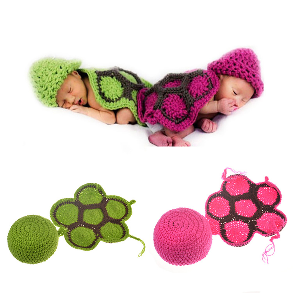 New 2020 Baby Hundred-day Baby Turtle Shape Handmade Infant Baby Photo Costume Crochet Newborn Baby Photo Props Accessories