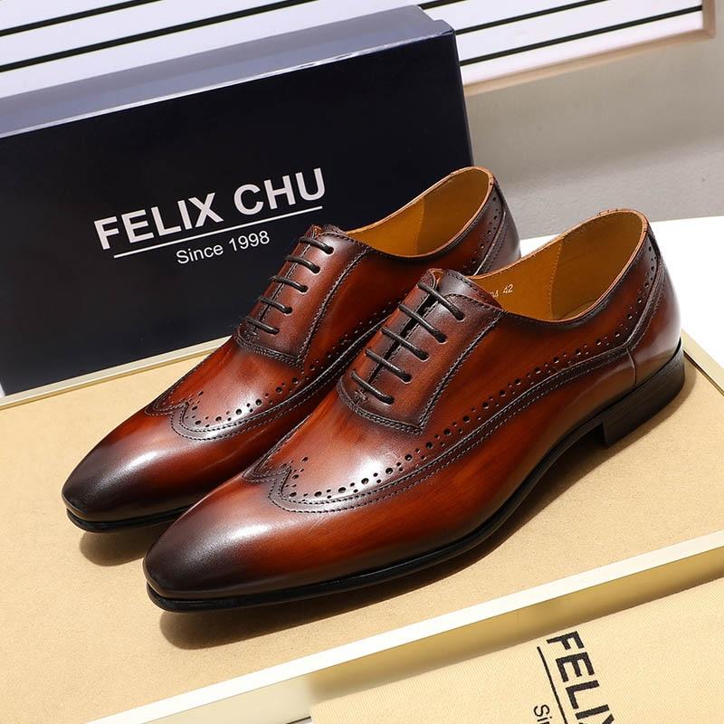 FELIX CHU Classic Wing เคล็ดลับ Oxfords ผู้ชายรองเท้าหนังแท้สีดำสีน้ำตาล Brogue Oxford รองเท้าบุรุษรองเท้าหนัง brogue-ใน รองเท้าทางการ จาก รองเท้า บน   1