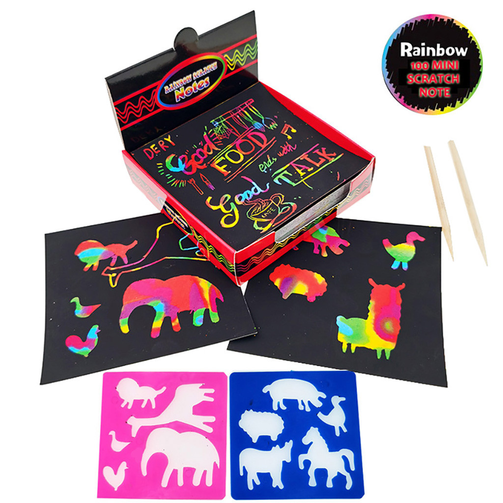 Scratch Notes Set Scratch Doodle Art With 100 Holographic Rainbow Paper With 2 Stylus Paper Gift For Kids Learning