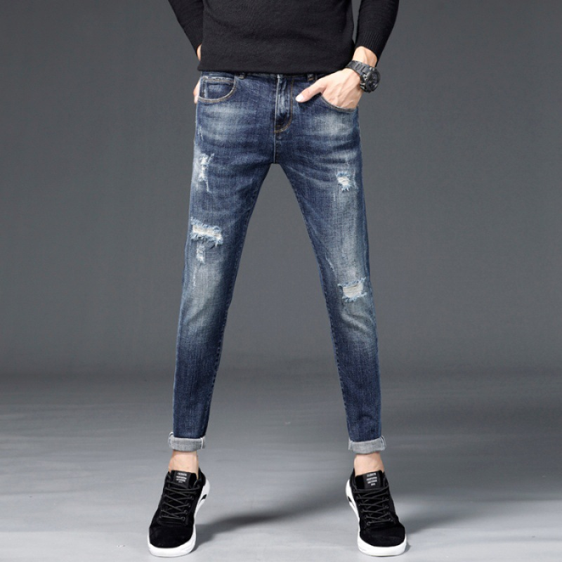 Autumn And Winter New Style Men Stretch Denim Trousers Slim Fit Pants Straight-Cut Blue Beggar Versatile Fashion Pants Casual Co