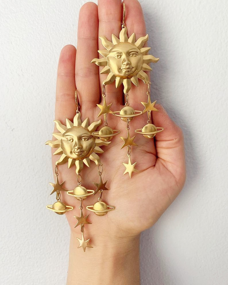 Sun Star Celestial Earrings Outspace Gift Drop Earrings    - AliExpress