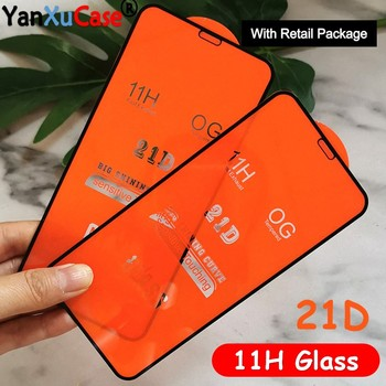 10pcs 21D Tempered Glass For iPhone 12 Mini 11 Pro Max XS XR X 8 7 6 6S Plus Full Coverage Cover Screen Protector On i12 Glass