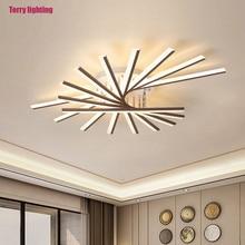 Luz led de techo moderno para comedor, arte de estar, deco, dormitório, controle remoto, brillo, luz dorada y negra