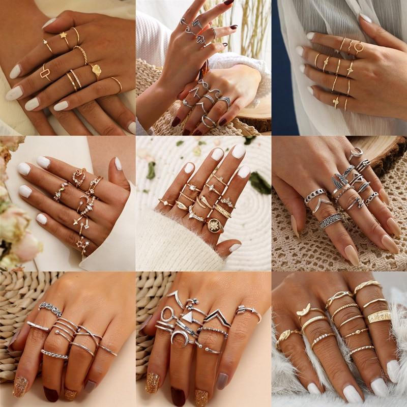 Modyle geométrico lua prata cor anéis para mulher minimalista minimalista minimalista simples jóias punk moda boho joint dedo anéis