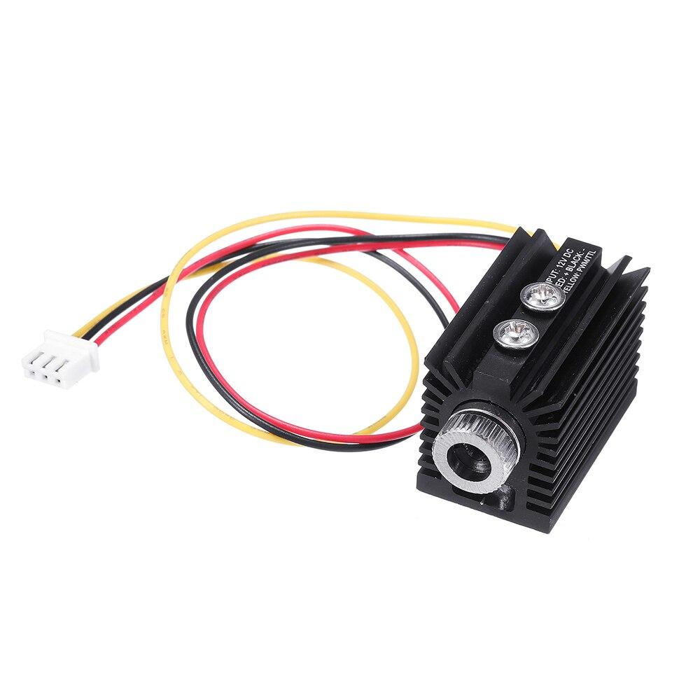 Blue Violet Dot Laser Module 405nm 100/180/300mW Variable Focus TTL/PWM Modulation w/ Heat Sink 2.54-3P for DIY Laser Engraver