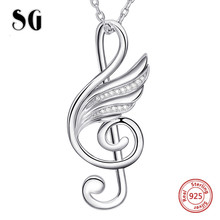 100% 925 sterling silver musical note wing chain pendant&necklace with Cubic Zirconia diy fashion jewelry making for lover gifts
