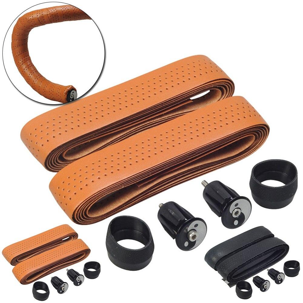 1Set Bicycle Handlebar Grip Bar Tape Classic Khaki Microfiber Leather Road Bike Vintage Racket Belt