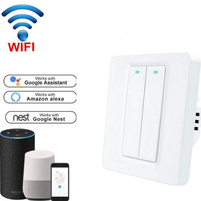 EWeLink APP Control Push Button Wifi Wall Light Switch, EU Standard Wireless Wifi Smart Switch Google Home/Alexa
