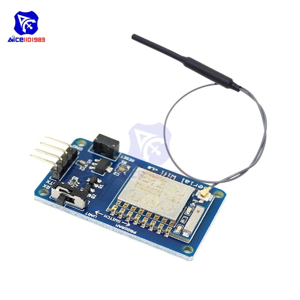 Diymore ESP8266 ESP-07 WIFI серийный трансивер, беспроводной модуль 8N1 TTL UART, контроллер порта 2,4 ГГц, IPEX антенна для Arduino