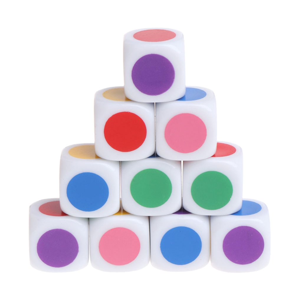 10pcs <font><b>Blank</b></font> Six Sided <font><b>16mm</b></font> Color Dot Game <font><b>Dice</b></font> Set for Games Casino Gift Teaching,Board & Traditional Party Playing Games image