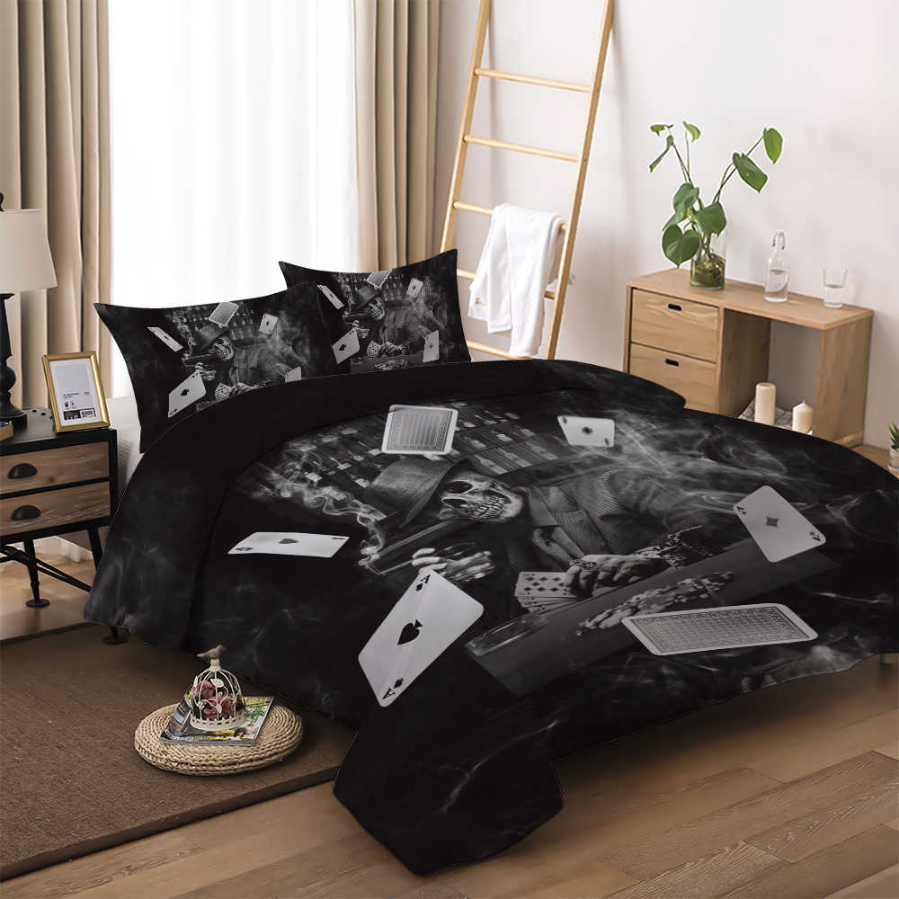 3D Playing Cards Printed Bedding Sets Skull Gambler Printing Halloween Duvet Cover Set Black Home Textile Twin Full Queen Size