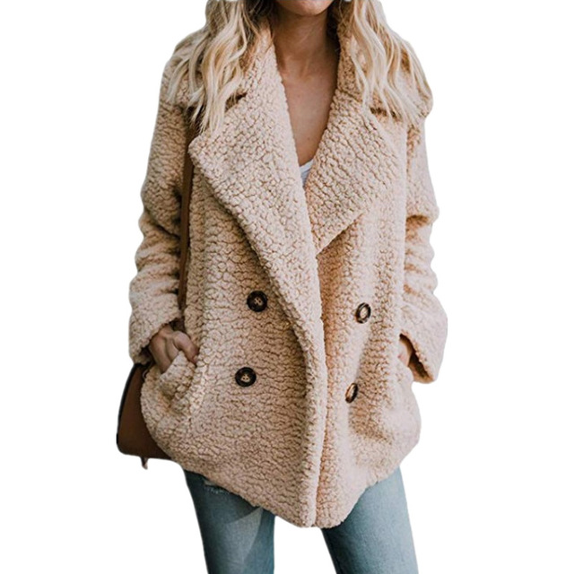 High Quality Teddy Coat Women Elegant Thick Winter Plush Coat Artificial Fluffy Fleece Dual Pocket Faux Fur Teddy Jacket Female