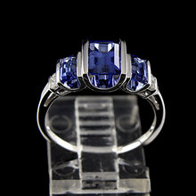 Luxury Multilayer Opening Design Water droplets Blue Square Cubic Zircon Women Ring Girls Bague Gift Silver Color(China)