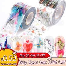 10pcs Butterfly Nail Art Transfer Foil Decals Unicorn Cartoon Animals Slider For Nails