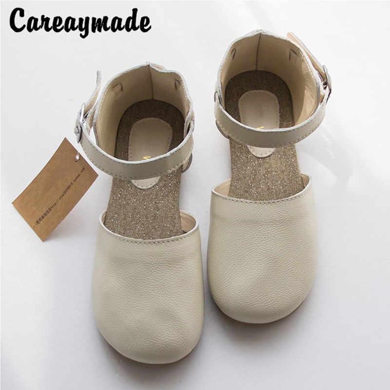"""Careaymad-pure Handmade ของแท้รองเท้าหนัง,""""Sen หญิง"""",รองเท้าปากตื้น lacing รองเท้า retro,สีดำ/สีขาว"""