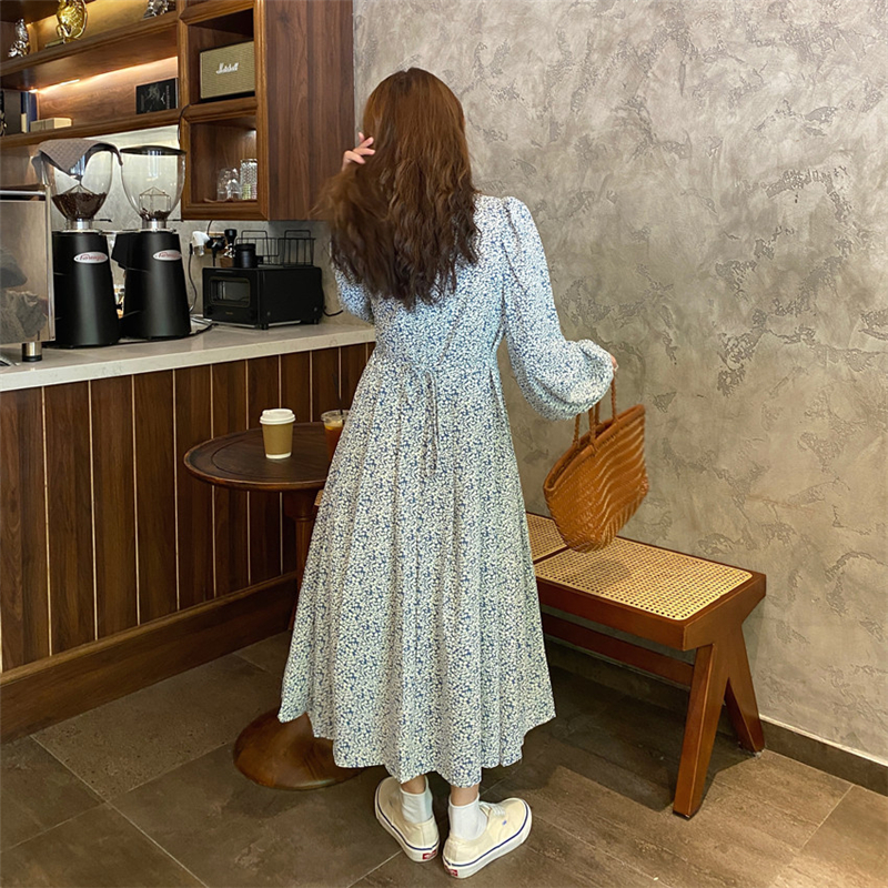 Hd834c6971cb04727b319e6c2174a922e2 - Autumn O-Neck Lantern Long Sleeves Floral Print Midi Dress