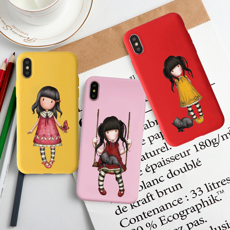 Cartoon Lovely Santoro Gorjuss Black Soft Shell Phone Case For iphone 6/6s plus 7 / 8 , 7Plus/8Plus, X , XS , XR , XSMax 11Pro(China)