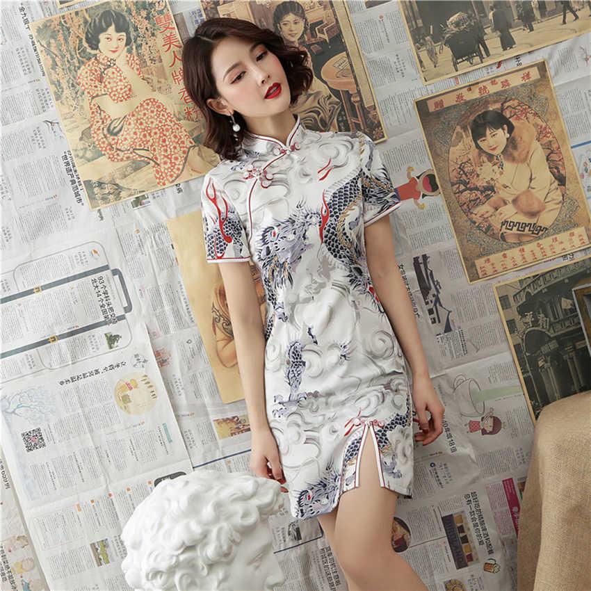 Çin elbisesi kadınlar için zarif ejderha vinç 2020 haber Qipao Vestidos parti gelinlik Cheongsam bölünmüş Aodai stil seksi