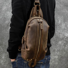 Vintage Genuine Leather Crazy Horse Leather Men Chest Pack Mini Cowhide Messenger Gags Fash