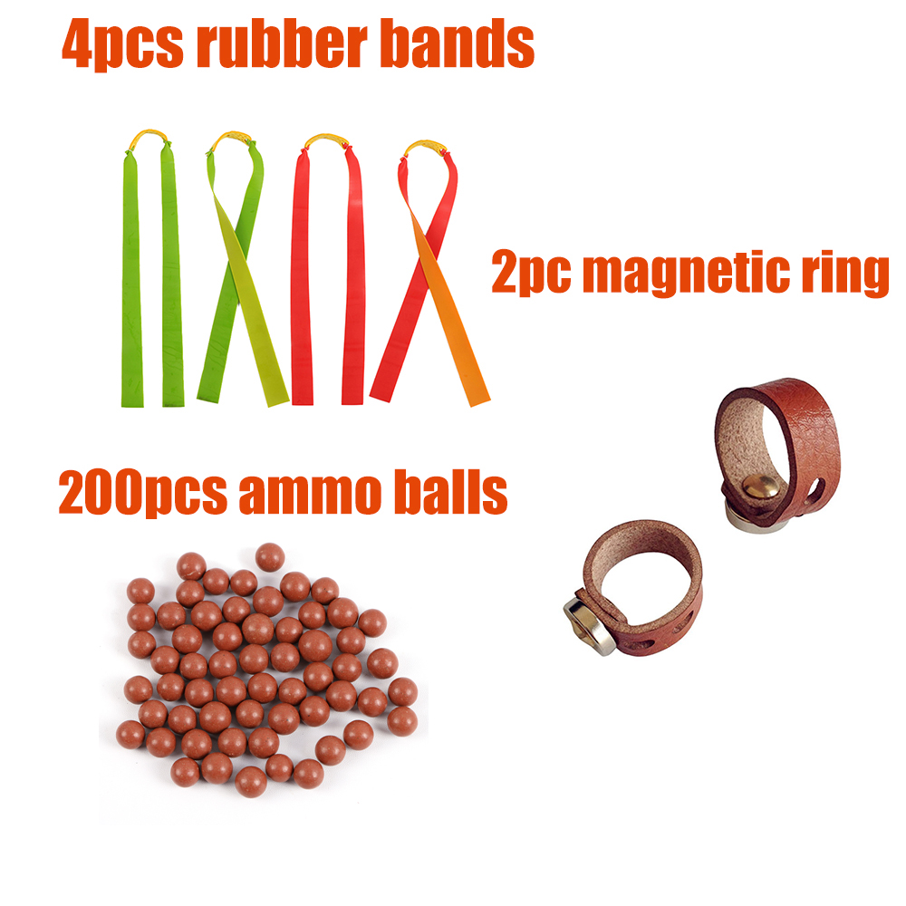 200pcs Slingshot Ammo Balls 2pcs Magnetic Rings 4pcs Rubber Bands For Slingshot For Shooting Hunting DIY Sports Shooting Outdoor