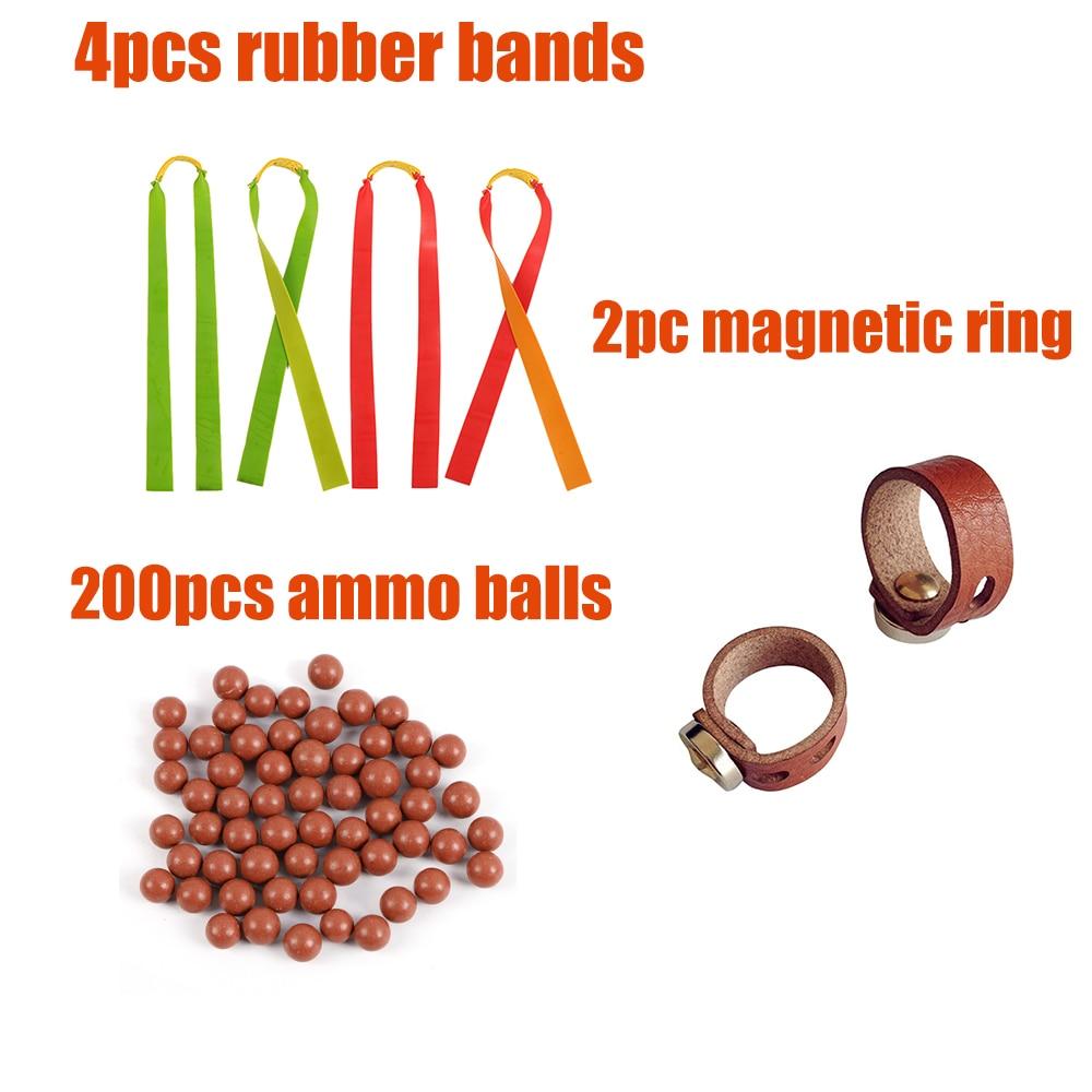 200pcs Slingshot Ammo Balls 2pcs Magnetic Rings 4pcs Rubber Bands For Slingshot For Shooting Hunting DIY Sports Shooting Outdoor