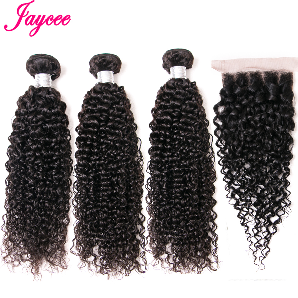 Jaycee Malaysian Kinky Curly Bundles With Closure 100% Remy Human Hair Weave Bundles With Closure With Bundles 4PCS