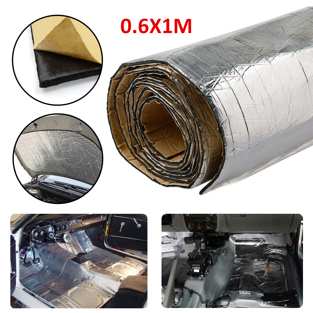 1M Car Hood Roof Heat Insulation Shield Mat Engine Cover Noise Deadener Pad Trunk Lid Aluminum Foil Adhesive Sound Damping Sheet
