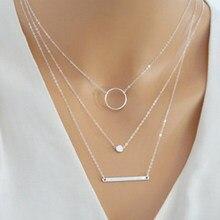 Venda quente fashion statement multicamadas colar multi-elemento de metal haste círculos geométrica redonda gargantilhas colares jóias femininas