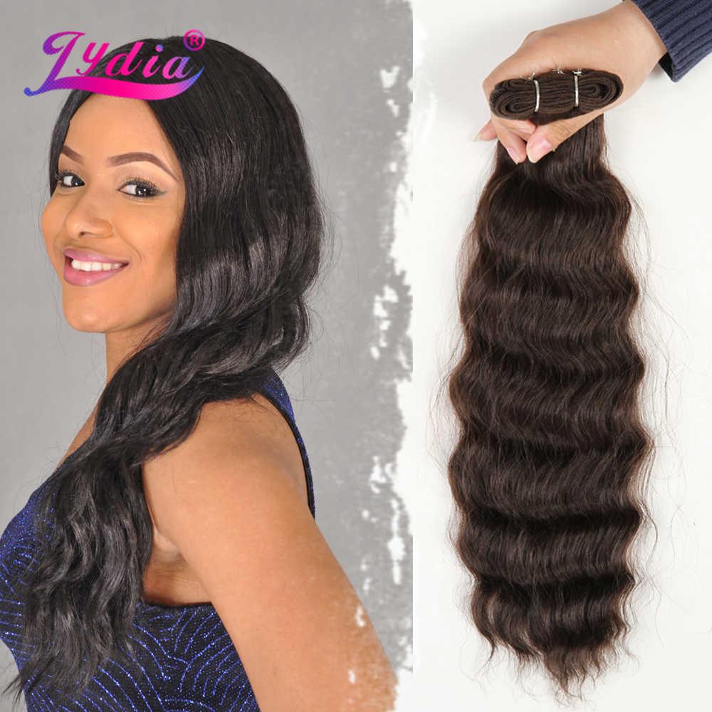 Lydia syntetyczne naturalne fale 3 części/partia kolor 4 # przedłużanie włosów żaroodporne tkania mieszane wiązki włosów z podwójne pasma