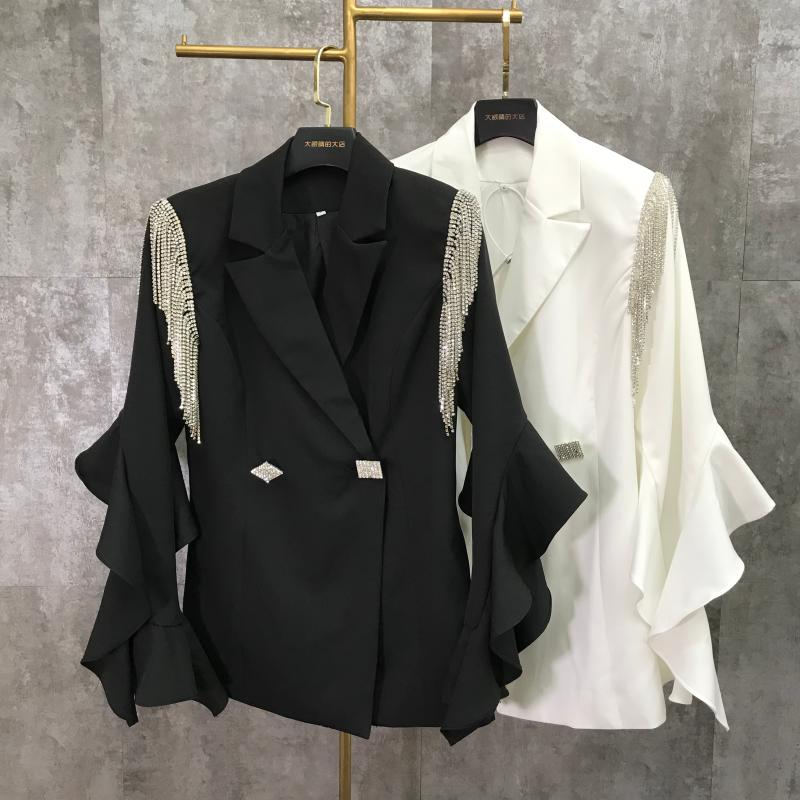 2020 Spring New Shoulder Tassel Rhinestone Chain Lace Sleeve Suit Cropped Jacket Top Woman White Blazer Blazers Black Coats