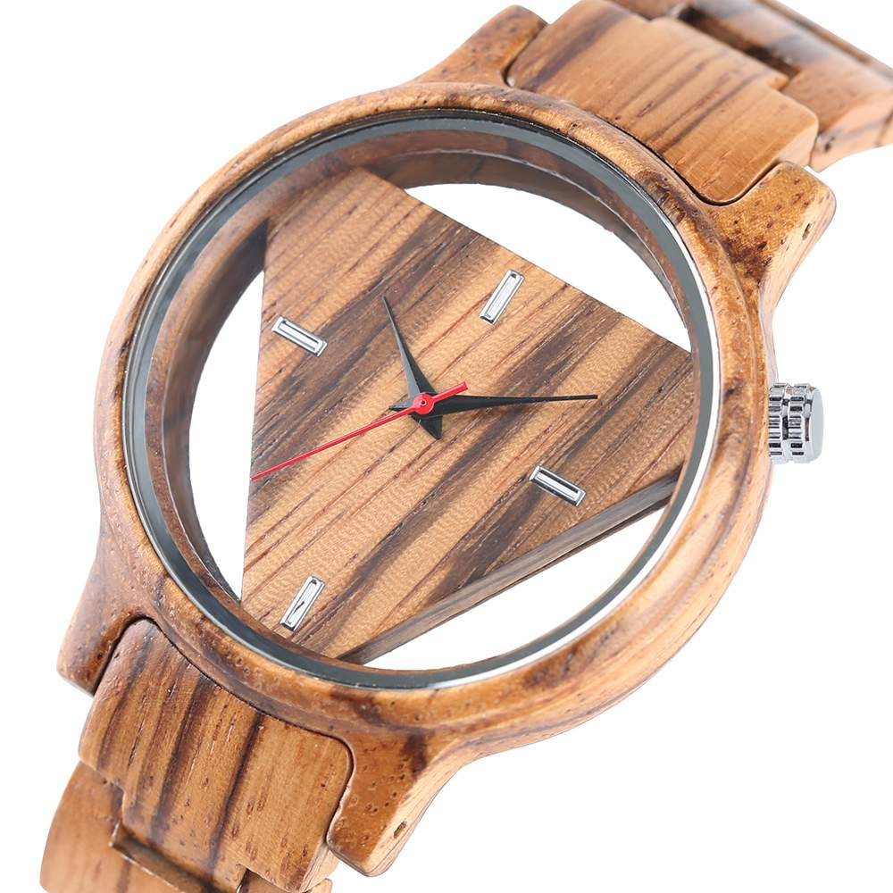 Unique Inverted Geometric Triangle Wood Watch Men Women Creative Hollow Dial Full Wooden Quartz Wristwatch Reloj De Madera 2019