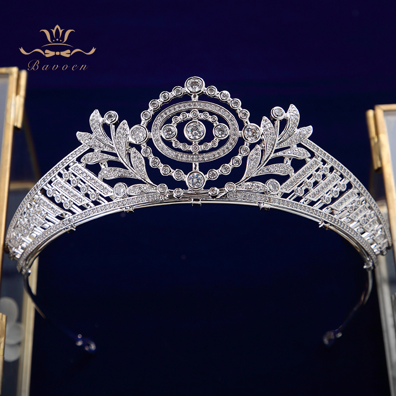 European Princess Plated Crystal Zircon Wedding Crown Silver Headpieces Bridal Tiara Hair Accessories Evening Hair Jewelry