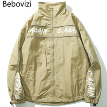 Bebovizi 2019 Men Streetwear Jacket Windbreaker Harajuku Fashion Track Jackets Hip Hop Khaki Collarless Coat
