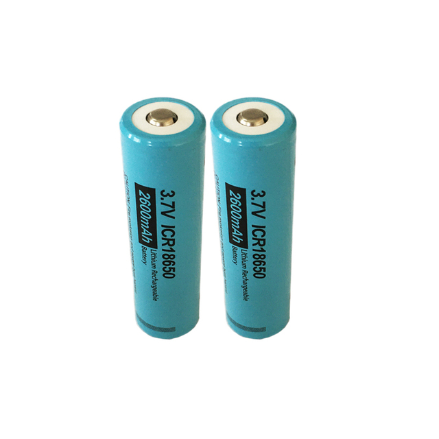 2PCS PKCELL 18650 li ion battery ICR18650 2600MAH 3.7V lithium rechargeable battery button top flashlight Torch Accumulator Cell