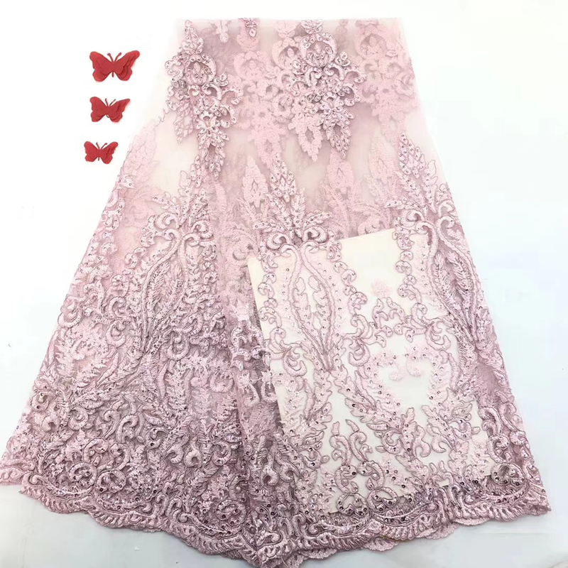 High Quality 2020 Pink French Net Lace Fabric Latest Nigerian Beaded Lace Embroidery African Tulle Lace Fabric For Wedding Dress
