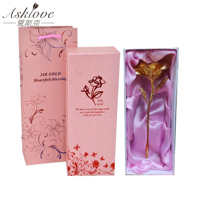 Asklove 24 k folha de ouro rosa flor decoração do casamento flor namorada presente amante ouro rosa chapeado flores artificiais caixa de presente