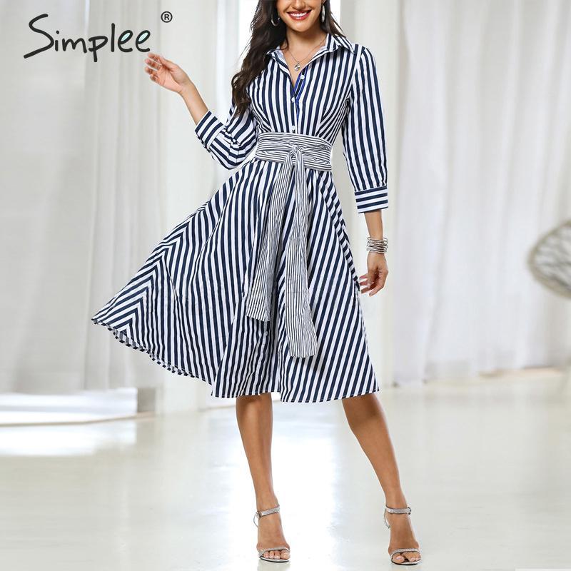 Simplee Casual Striped Women Office Dress Elegant Quarter Sleeve Bow Tied Midi Dress Autumn Ladies Work Wear A-line Shirts Dress