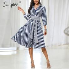 Simplee Casual striped women office dress Elegant quarter sleeve bow tied midi dress Autumn ladies work wear A line shirts dress