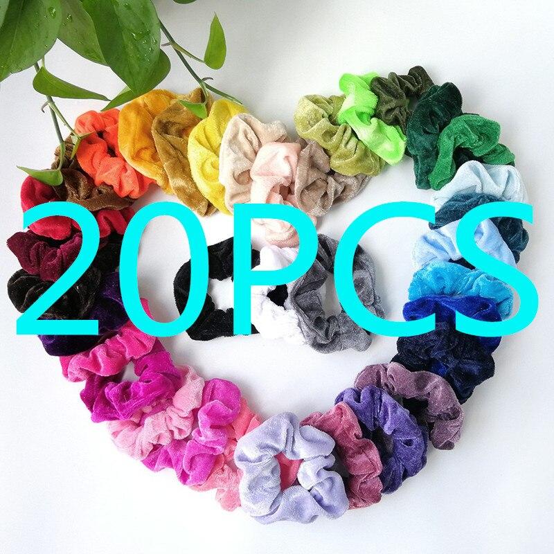 20/15/9PCS Velvet Scrunchie Women Girls Elastic Hair Rubber Bands Accessories Gum For Women Tie Hair Ring Rope Ponytail Holder - Цвет: A
