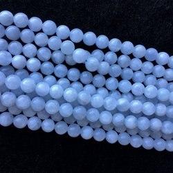Круглые незакрепленные бусины синего, белого цвета, 6 мм, 8 мм, 10 мм, 1 шт.