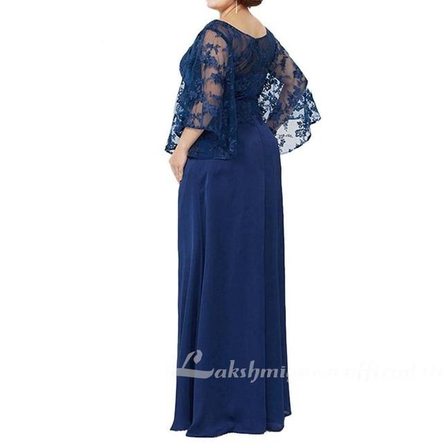 Blue Lace Top Plus Size Mother of the Bride Dress 2