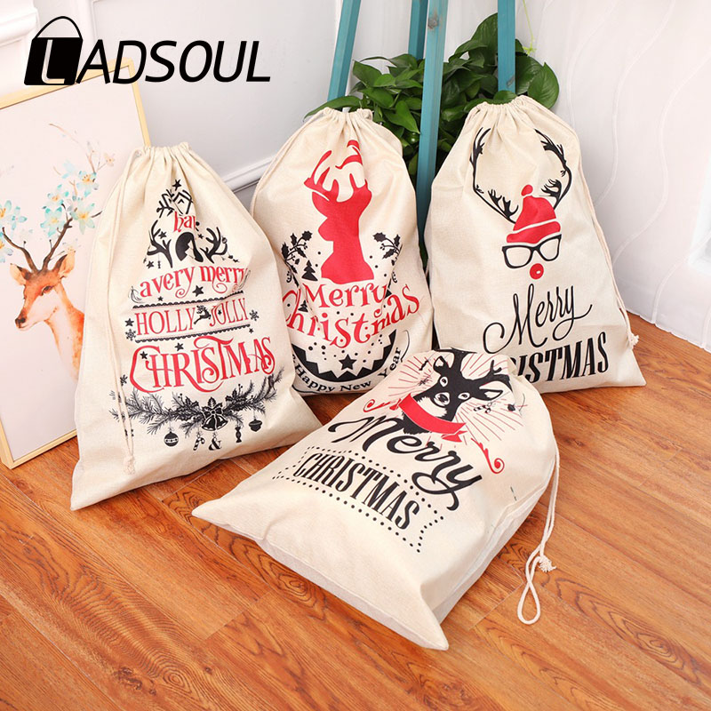 LADSOUL New Large Printed Linen Beam Christmas Gift Bag Candy Bag Christmas Apple Bag Happy New Year Holiday Decorations Favor G