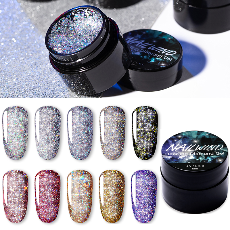 NAILWIND UV Nail Gel Painting Glitter Diamond Dazzling Gel Nail Varnish Hybrid Semi Permanent Base Top Manicure Set