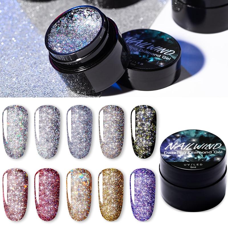 NAILWIND UV Nail Gel Painting Glitter Diamond Dazzling Gel Nail Varnish Hybrid Semi Permanent Base Top Manicure Set
