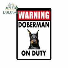 EARLFAMILY 13cm x 8.7cm Car Sticker GUARDIA CANE DOBERMAN SEGNO di ALLUMINIO RESISTENTE NESSUNA RUGGINE di COLORE COMPLETO IN METALLO PERSONALIZZATI decal Car Styling(China)